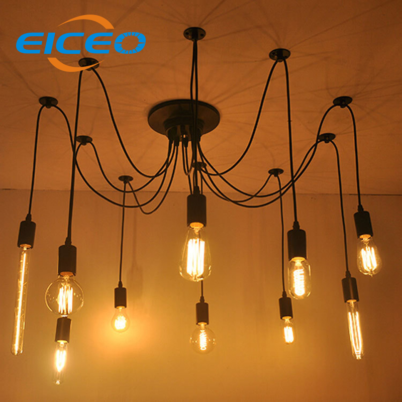 (EICEO) Modern Nordic Retro Edison Chandelier Lighting Vintage Loft Antique Adjustable DIY E27 Spider Pendant Hanging Lamp Home nordic vintage chandelier lamp pendant lamps e27 e26 edison creative loft art decorative chandelier light chandeliers ceiling