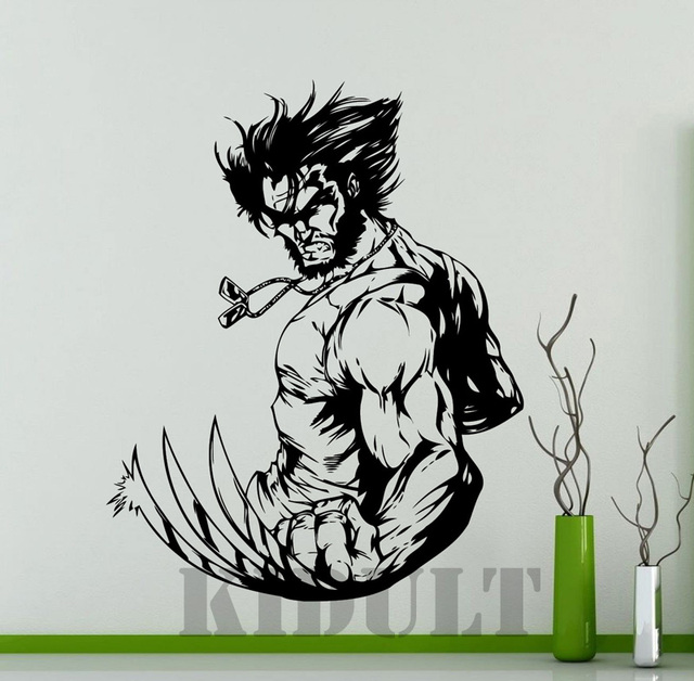 Wolverine wall sticker dc marvel comics superhero wall stickers vinyl stickers for children boy high quality