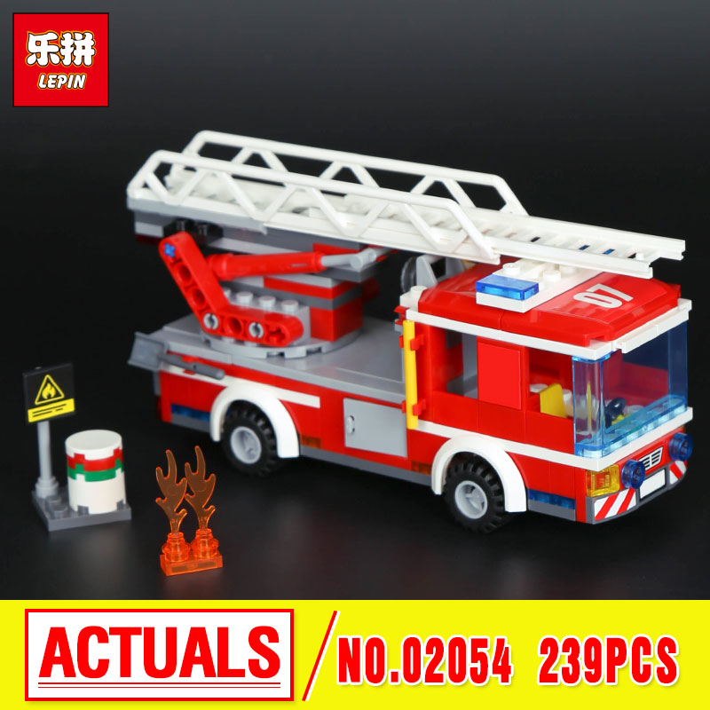Lepin 02054 Assemblage The Fire LadderTruck Set Genuine 239Pcs 60107 City Series Building Blocks Bricks Educational Toy DIY Gift the mortal instruments 6 city of heavenly fire