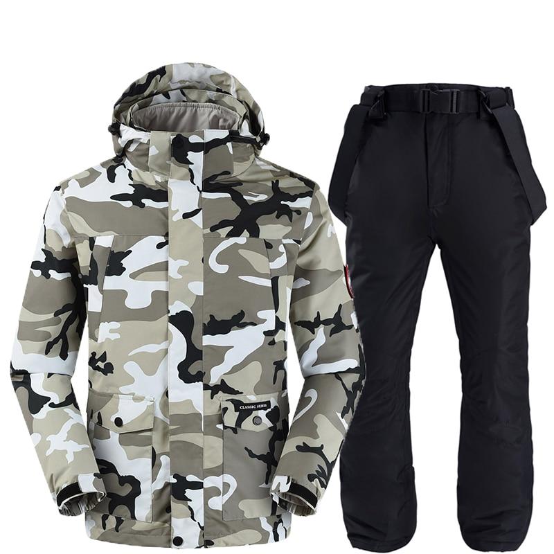 Vestes et pantalons de ski hommes combinaison de ski ensembles de snowboard très chaud coupe-vent imperméable neige vêtements d'hiver en plein air - 2