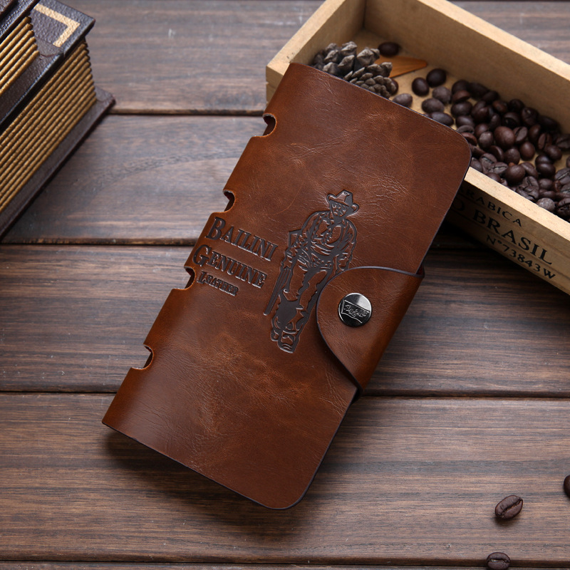 2019 Classic Vintage Man Hasp Hunter Cowboy Bailini Brand Long Leather Wallet Clutch With Coin Purse Pocket Leather Clutch Bags
