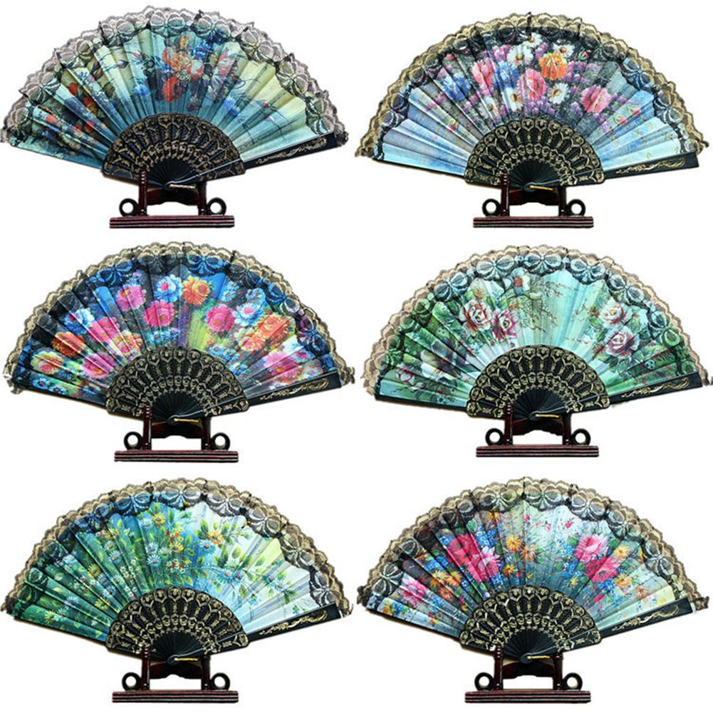 Summer Chinese/Spanish Style Dance Wedding Party Lace Silk Folding Hand Held Flower Fan Gift Colorful Dropshing Random Delivered ...