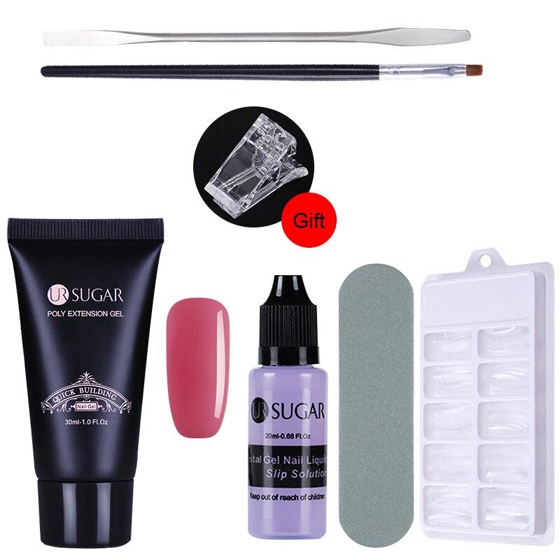 UR Sugar Nail Set 30ml Poly Gel French Nail Quick Building Crystal UV Builder Gel Nail Art Tips Finger Extension Building Gel