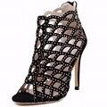 Moda Botas De Verão Peep Toe Recortes Sapatos de Mulher De Salto Alto Ankle Boots Preta 2017 Gladiador Strass Sapatos Femininos Sandálias