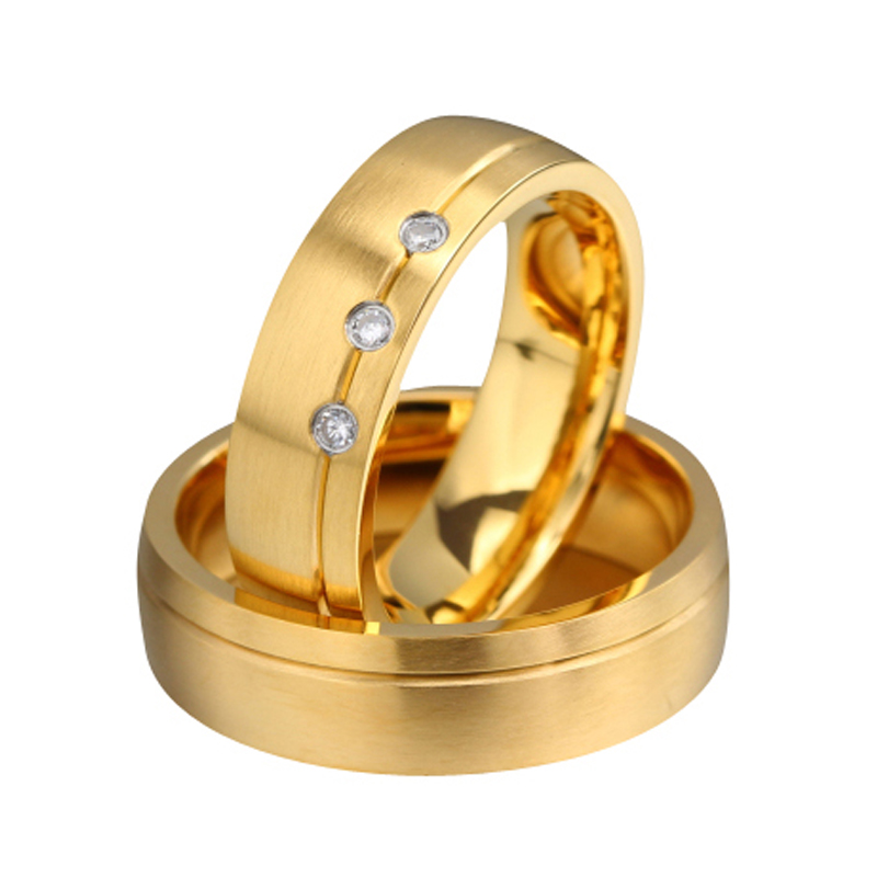 Golden Plated His And Hers Promise Ring Sets Lovers Engagement Classic Jewelry Free Shipping