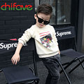 Spring Autumn Character Letter Pattern Baby Boys Cotton Warm T-shirt O-neck Collar Long Sleeve Child Clothes Boys 2 Colors Suit