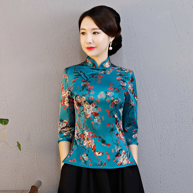 3bf5437b5e8 Elegant Flower Women Party Clothing Classic Printed Mandarin Collar Shirt Chinese  Female Evening Blouse Sexy Business