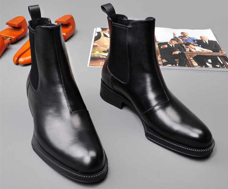 Men Leather cowhide Martin Boots Spring Autumn Comfortable Black Simple Fashion Elastic Ankle Boots Men England Style High Top