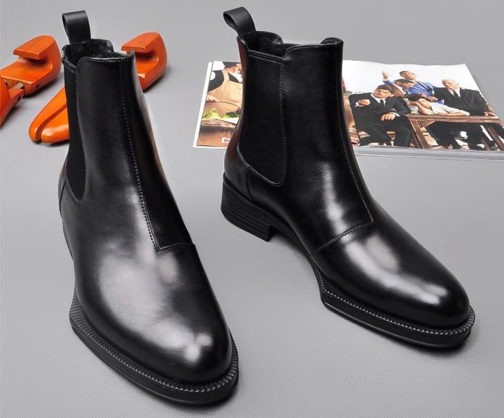 Hommes cuir de vachette Martin bottes printemps automne confortable noir Simple mode élastique bottines hommes angleterre Style haut