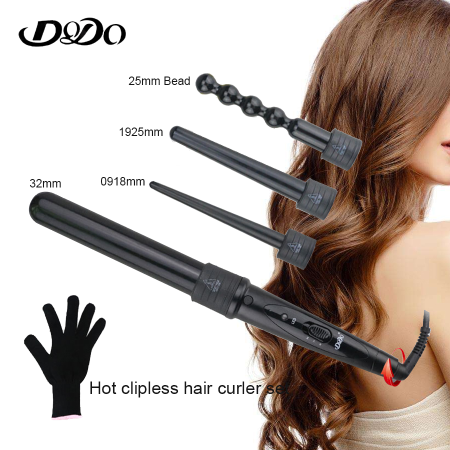 DODO ceramic curler iron 4 in 1 multi - functional hair curlers styling tools 100% tourmaline ceramics Magic Curling Wand smoby minikiss dodo 160153