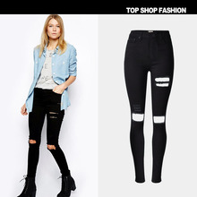 Female black jeans tight hole high waist jeans in Europe and the street stretch big yards jeans152626