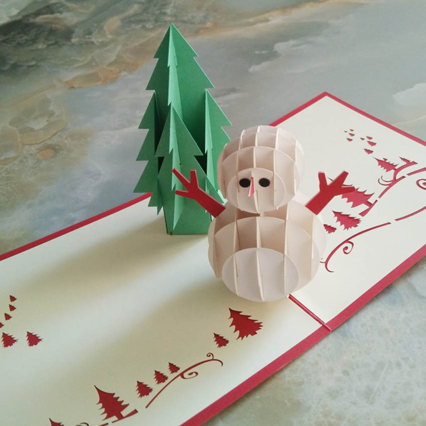 3d pop up handmade christmas snow man happy new year greeting card in cards invitations from home garden on aliexpresscom alibaba group