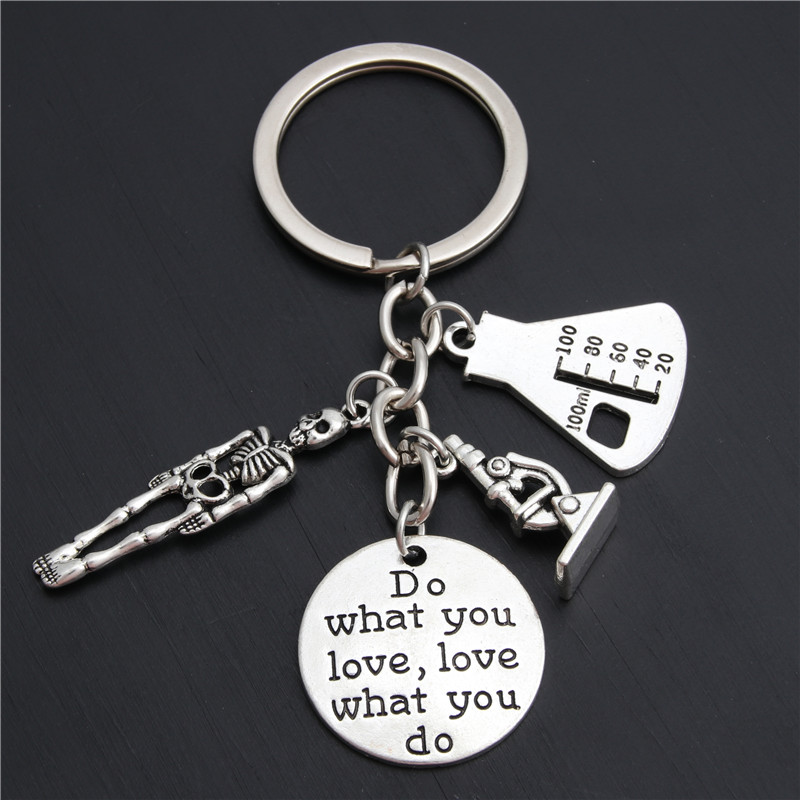 1pc Microscope Key Chains Science Keyring Biologist Scientist Chemist Gift Do What You Love Jewelry E2026
