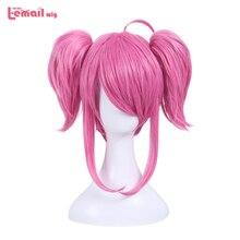 L email perruque de Cosplay synthétique LOL Star Guardian Lux, perruques de Cosplay roses à Double queue de cheval, coiffure courte résistante à la chaleur