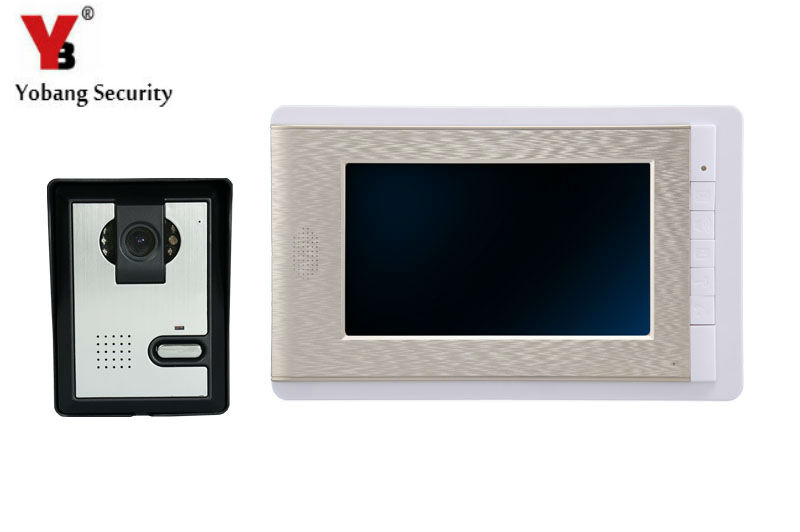 YobangSecurity 7 Inch Wire Video Door Phone Doorbell Intercom System Waterproof Outdoor Camera with RainCover Intercom System футболка с длинным рукавом для мальчика barkito трактор красная