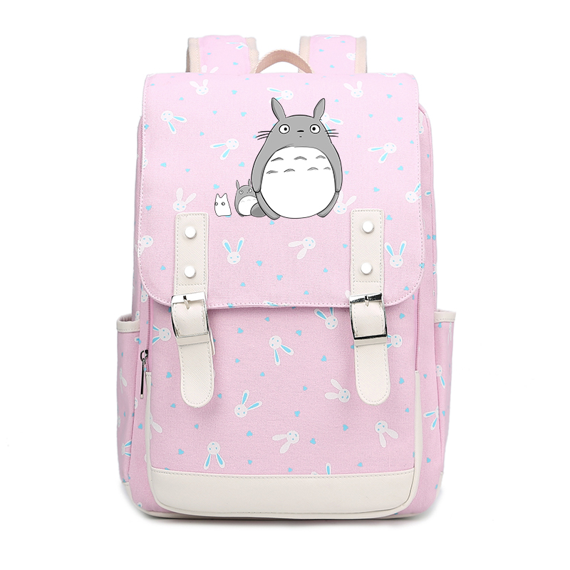2018 My Neighbor Totoro Cartoon Printing Backpack Kawaii Women Backpack Canvas School Bags for Teenage Girls Laptop Backpack new card captor sakura printing backpack kawaii women shoulder bags sakura laptop backpack canvas school bags for teenage girls