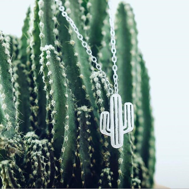 Cactus Silver Pendant Necklace