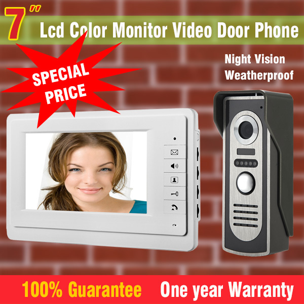 7`` Color Monitor Video Door Phone Intercom Doorbell System Kit Video Doorphone Speakerphone Aluminium alloy night vision Camera 9 big monitor video door phone doorbell system video intercom ir night vision door alloy camera video doorphone ui interface page 6