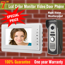 "7"" Color Monitor Video Door Phone Intercom Doorbell System Kit Video Doorphone Speakerphone Aluminium alloy night vision Camera"