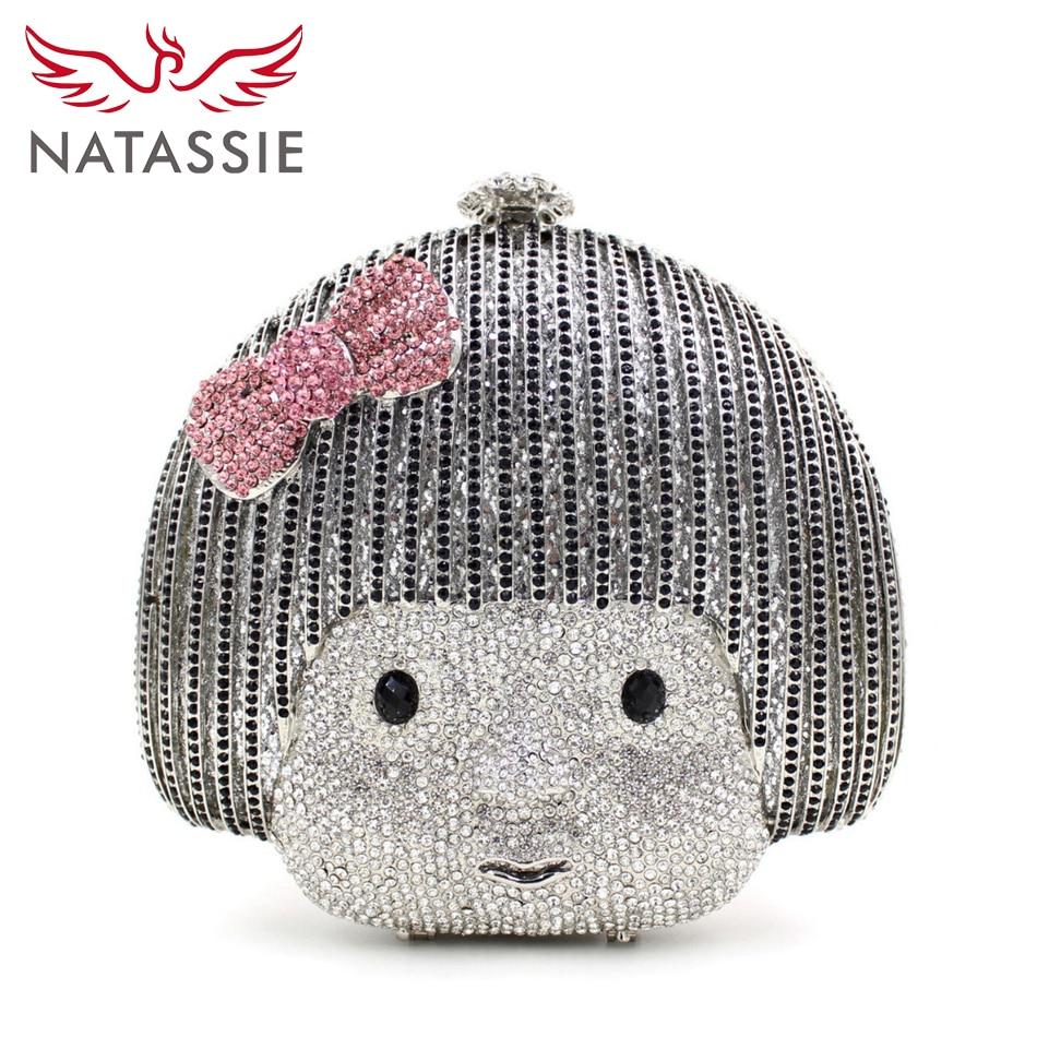 цена  NATASSIE Silver Clutch Bag Gemstone Wedding Clutches Attractive Girls With Pink Bowknot Shine Crystal Evening Party Bag L1078  онлайн в 2017 году