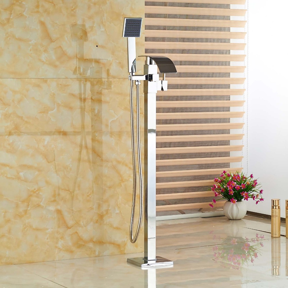 Free Standing Bathroom Waterfall Bathtub Faucet Brass Tub Mixer Taps Floor Mount with Handshower