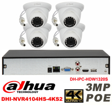 Dahua original 4CH 3MP H2.64 DH-IPC-HDW1320S 4pcs CCTV Network camera POE DAHUA DHI-NVR4104HS-4KS2 Dome IP security camera kit
