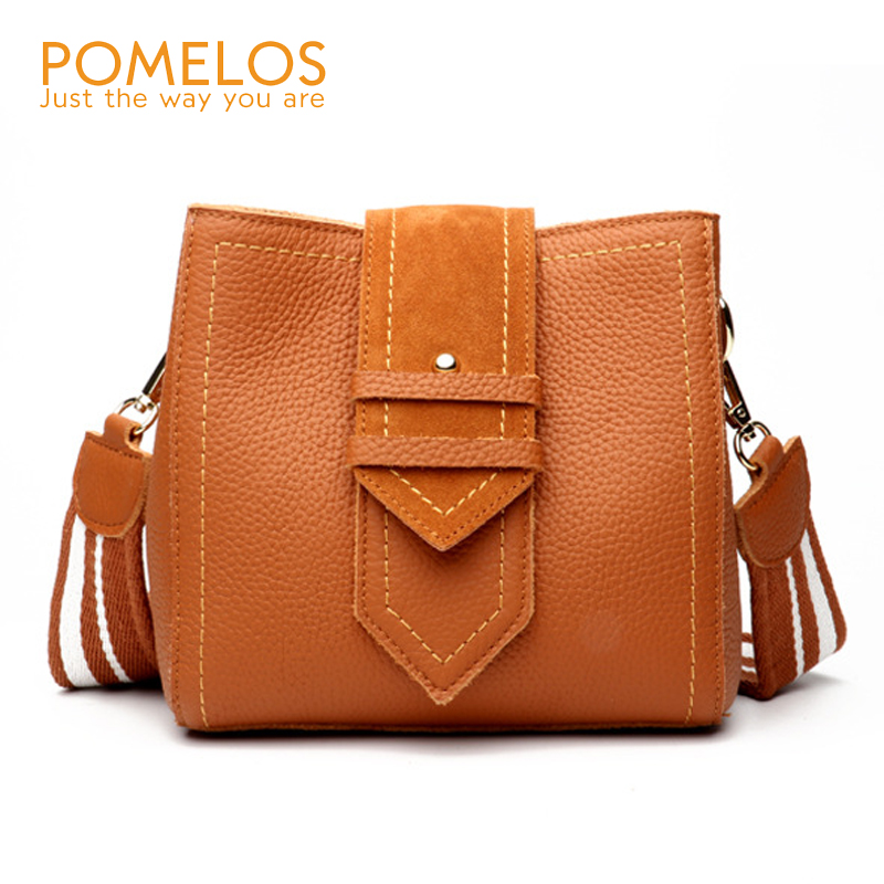 POMELOS Fashion New Ladies Genuine Leather Handbags Bucket Women Shoulder Bag Female Luxury Designer Leather Crossbody Bags ladies genuine leather handbag 2018 luxury handbags women bags designer new leather handbags smile bag shoulder bag