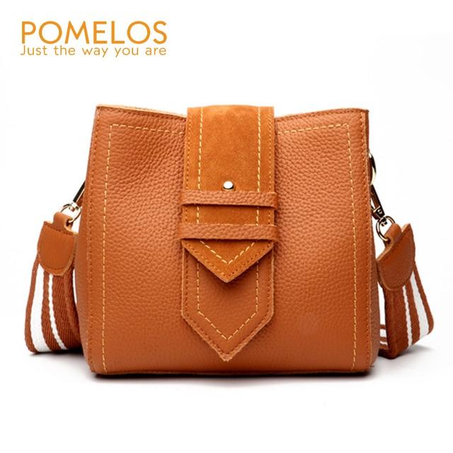 3c217a6683 POMELOS Fashion New Ladies Genuine Leather Handbags Bucket Women Shoulder Bag  Female Luxury Designer Leather Crossbody Bags