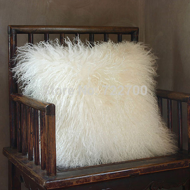 two sides white mongolian fur cushion cover 50x50 tibetan lamb fur White Fluffy Throw Pillows
