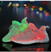 Allwesome 26-45 Supper Led Fiber Optic Shoes for Girls Boys Men Women USB Recharge Glowing Sneakers Man Light Up Dancing Shoes