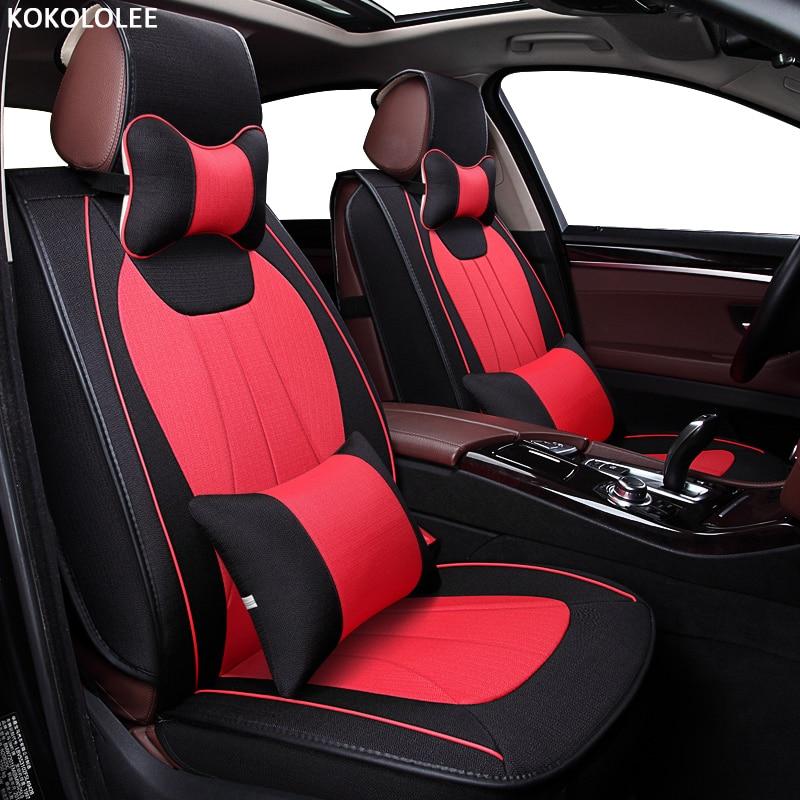 KOKOLOLEE Flax Car Seat Covers for Infiniti Q50 Q70 ESQ QX30 QX60 QX70 QX80 Q60 QX50 Q50L Auto Accessories car styling hand sewn leather cowhide steering wheel diy sticker cover for infiniti q50 qx50 ex35 jx qx60 q60 q70 g ex interior accessories