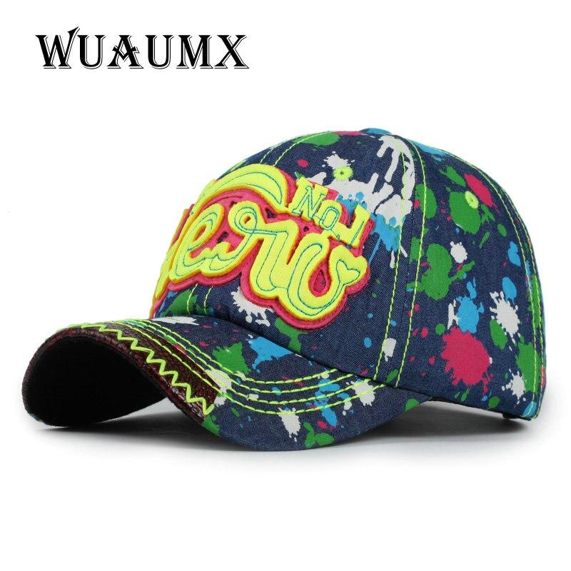 41fbec76323f7 Wuaumx Branded Baseball Cap For Men Summer Hats For Women Multicolor Denim  Bone Snapback Cap HENU Planas Hip Hop Casquette