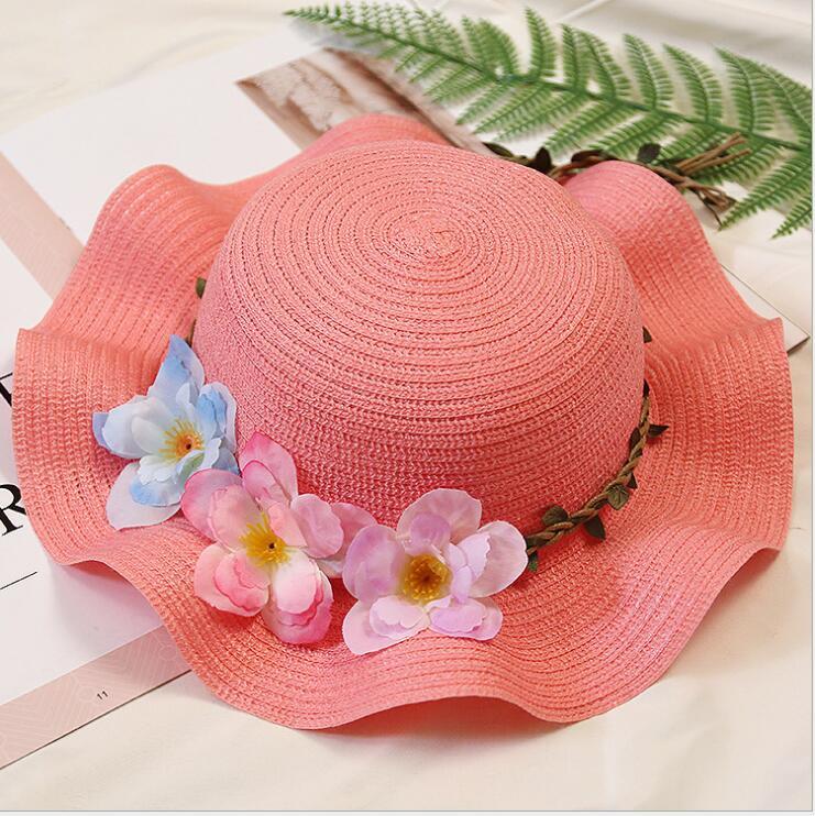 Han version de la vague de la fleur chapeau de paille parent-enfant pare-soleil.