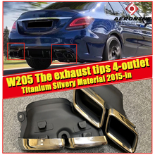 W205 2PCS 2 Inlet/4 Outlet Titanium Silver Muffler Exhaust Tip Pipe For Mercedes Benz Sports C class C180 C200 C300 15-in