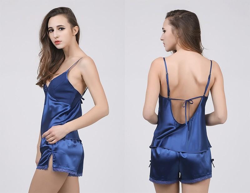 HTB1Zu7KLFXXXXcBXXXXq6xXFXXXy - Solid Satin Chiffon Women Pajama Sets Spring Summer Night dress PTC  157