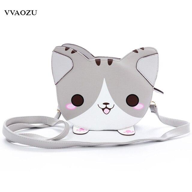 Fashion Cute Neko Atsume Shoulder Bag Anime 3D Cat PU Leather Cross Body  Bags Lady Cartoon Handbags a78c6b3ec4ece
