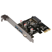 купить USB 3.1 Type-C + 2  usb 3.0 type-A + SATA 15PIN  USB header PCI-e Card Desktop PCI Express to USB3.1 Adapter дешево