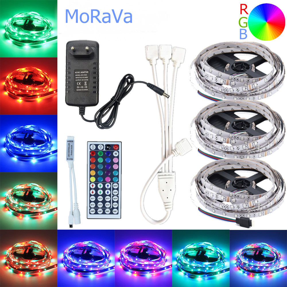 5m 10m 15m LED Strip 12V 60 Leds/m RGB Rope Light SMD 2835 Flexible LED Lamp Lights Multicolor LED String+LED Controller+Adapter