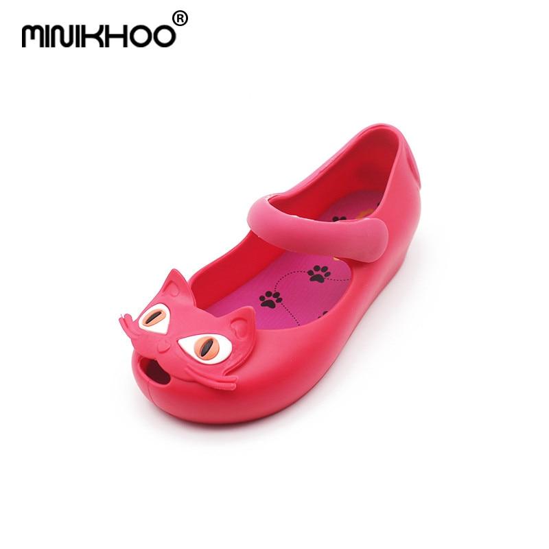 Mini Melissa 2018 Original Cats Sandals Soft Comfort Cat Shoes Jelly Shoes Rain Boots Melissa For Children Super Cute Sandals