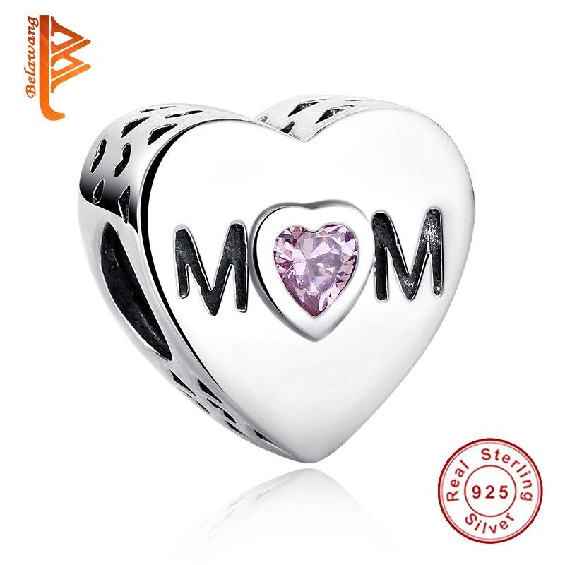 Prix pour BELAWANG 925 Sterling Argent Rose CZ Ajouré Maman Charme Perles Fit Pandora Original Bracelet De Mode Bijoux En Gros Accessoire