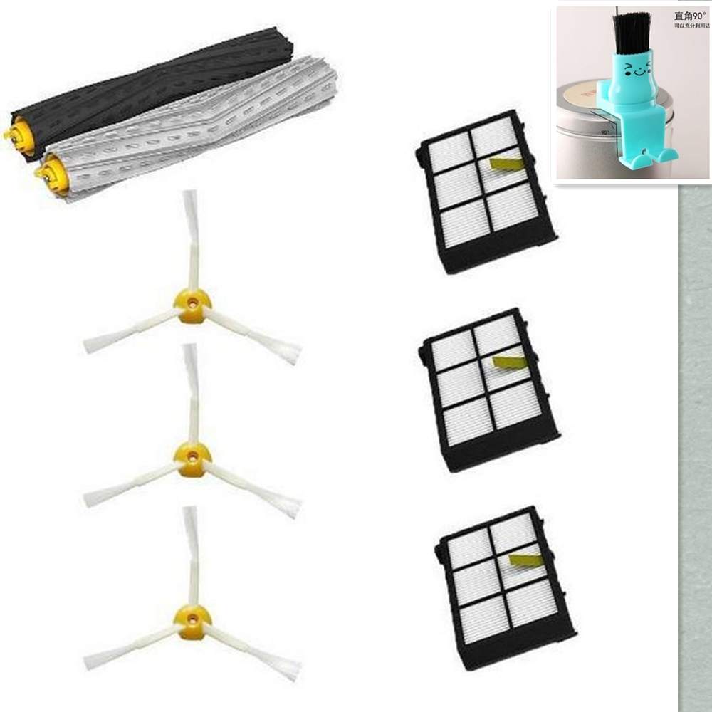 HEPA Filter + Debris Extractor + side brush + clean brush Kit For iRobot Roomba 800 900 860 864 870 880 980 replacement parts high quality debris extractor brush hepa filter side brush kit for irobot roomba 800 870 880 980 vacuum cleaner parts
