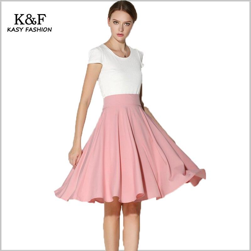 8f0ba9221f KASY mujeres de primavera Rosa cintura alta Midi Skater falda elegante  falda de la longitud de la rodilla