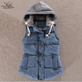 4XL Detachable Hooded Cotton Vest Women Thickening Cotton Wadded Waistcoat Woman Vest Waistcoat Plus Size