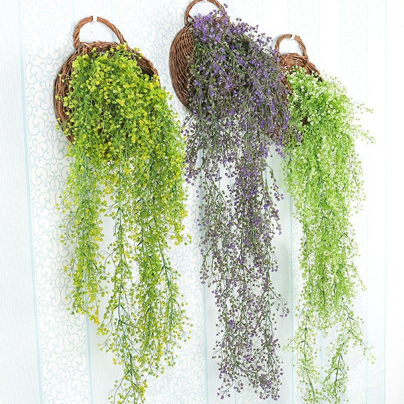 Rattan-Basket Orchid Wall-Decoration Simulation-Plant Plastic Flowers-Plants-Furniture