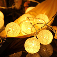 LED Cotton Ball String Lights 2 3M 20 Led Twine Christmas Tree Home Party Decoration Lamps