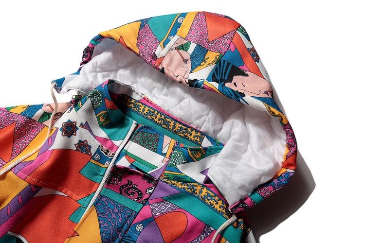 Japanese Ukiyo E Style Color Block Patchwork Jacket 4
