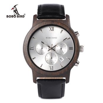 BOBO BIRD WP28 montres hommes en bois de luxe chronographe résistance à l'eau montre à Quartz affichage de la Date cadeau pour hommes dans une boîte-cadeau en bois