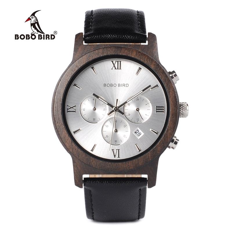Бобо птица WP28 деревянные часы мужские Роскошные Кварцевые часы хронограф с датой Дисплей в деревянной подарочной коробке