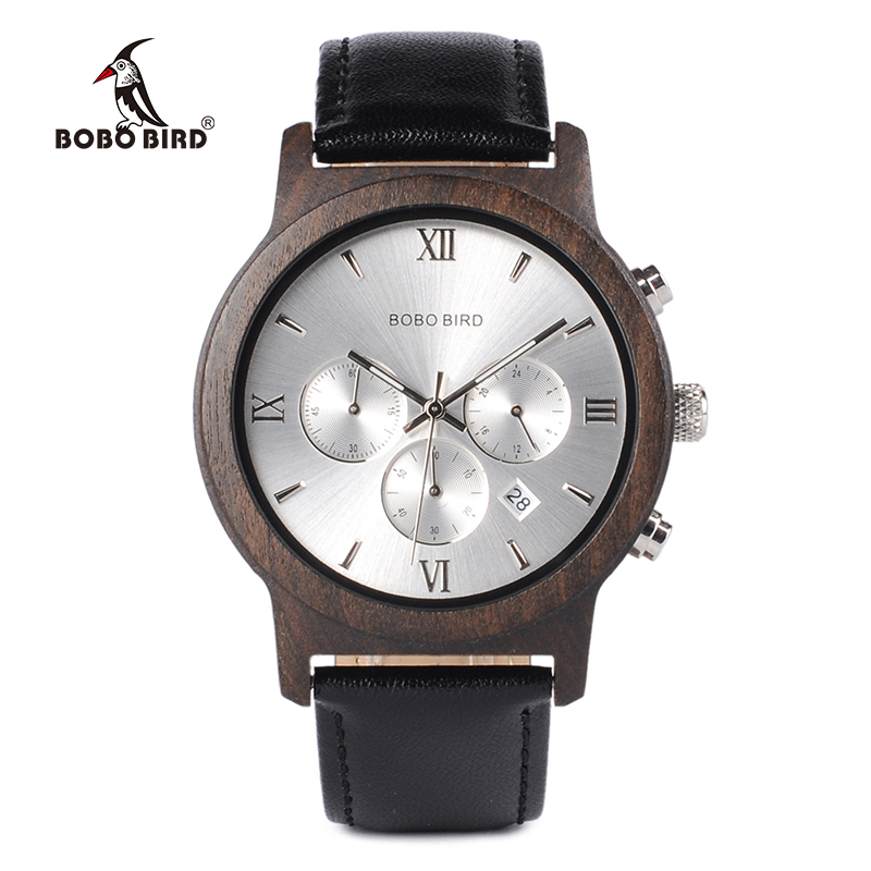 BOBO BIRD WP28 Wooden Men Watches Luxury Chronograph Water Resistance Quartz Watch Date Display Men's Gift In Wooden Gift Box