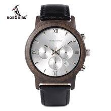 BOBO BIRD WP28 relojes de madera para hombre, cronógrafo de lujo, resistente al agua, de cuarzo, indicador de fecha, regalo para hombre en Caja de regalo de madera
